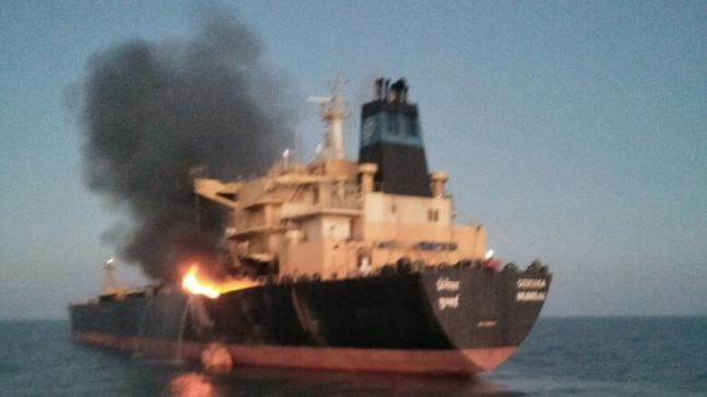 Kandla port: Oil tanker catches fire, Coast Guard rescues 26 crew members, 2 injuried