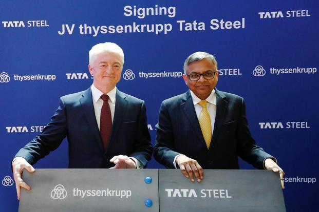 ThyssenKrupp CEO Heinrich Hiesinger with Tata Steel chairman N. Chandrasekaran. Thyssenkrupp Tata Steel BV is expected to have €17 billion in sales and a joint labour force of 48,000 workers. Photo: Reuters
