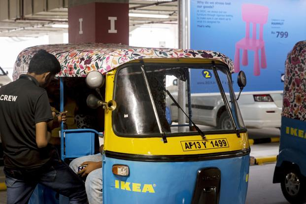 An Ikea branded auto-rickshaw during the launch of the company's store in Hitech City on the outskirts of Hyderabad on Thursday. Photo: Bloomberg