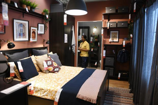 A bedroom display at the Ikea store in Hyderabad. Photo: AFP