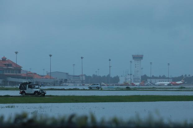 The international airport at Kochi is shut till 2pm, 26 August, due to Kerala floods. Photo: AFP