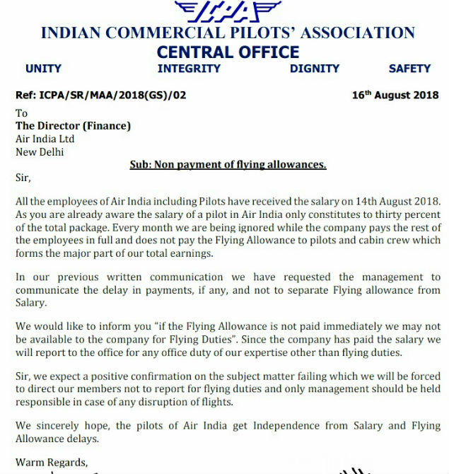 Pay our flying allowance or we stop flying: Air India pilots to airline