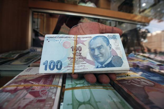 The Turkish lira weakened past 7.23 per dollar amid thin volume before paring losses after the nation's banking regulator stepped in to limit swap transactions on the battered currency. Photo: AFP
