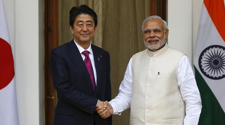 Japan's Prime Minister Shinzo Aber with Modi